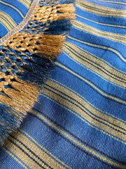 Antique 19th century striped textile in blue and mustard | Pavilion Parade