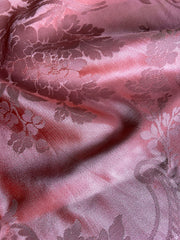 Coral silk damask, antique textile from 19th century France | Pavilion Parade