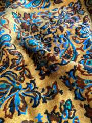 Antique Edwardian silk velvet with art nouveau blue and coffee botanical pattern on a golden yellow ground | Pavilion Parade