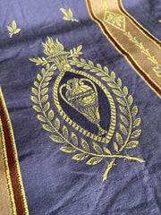 Antique linen and silk damask in blue and gold with classical urn motif | Pavilion Parade