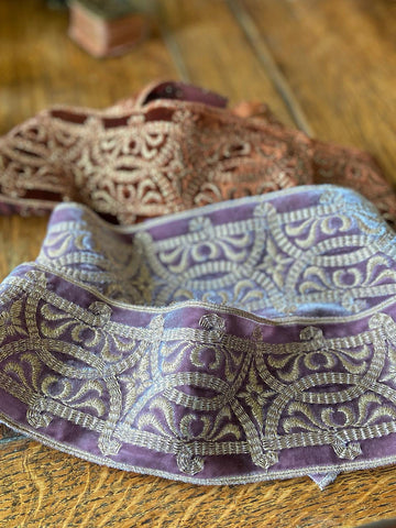 Antique silk velvet wide ribbon embroidered with metallic thread in tones of lavender and sienna | Pavilion Parade