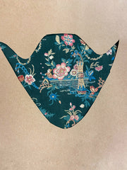 Antique French Chinoiserie Block Print Textile