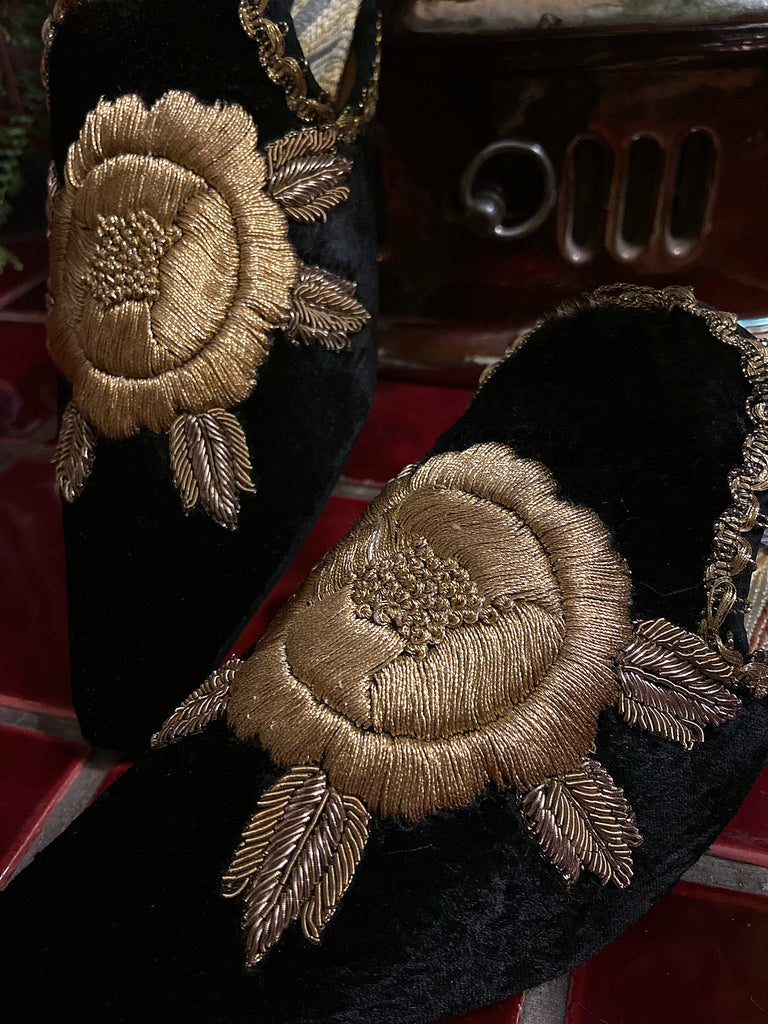 Black silk velvet and antique gold embroidered embellished textile bohemian flat shoes from Pavilion Parade Recherché Collection by Joanne Fleming Design