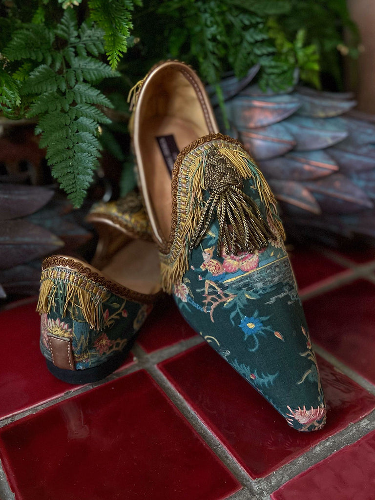 Tasseled bohemian flat shoes in antique chinoiserie textiles  - tones of pink blue and gold - Pavilion Parade from Joanne Fleming Design