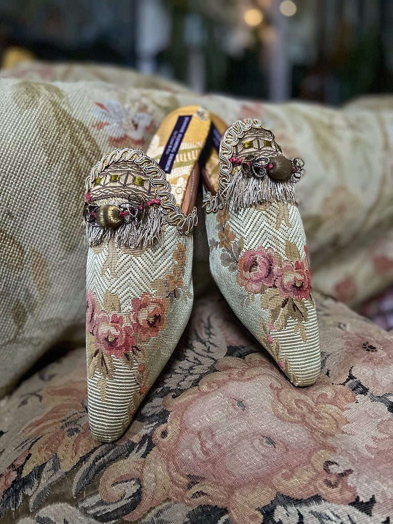 Adonais green silk shoes tasselled embellishment, created from antique textiles, from the Signature Collection of bohemian footwear by Pavilion Parade at Joanne Fleming Design