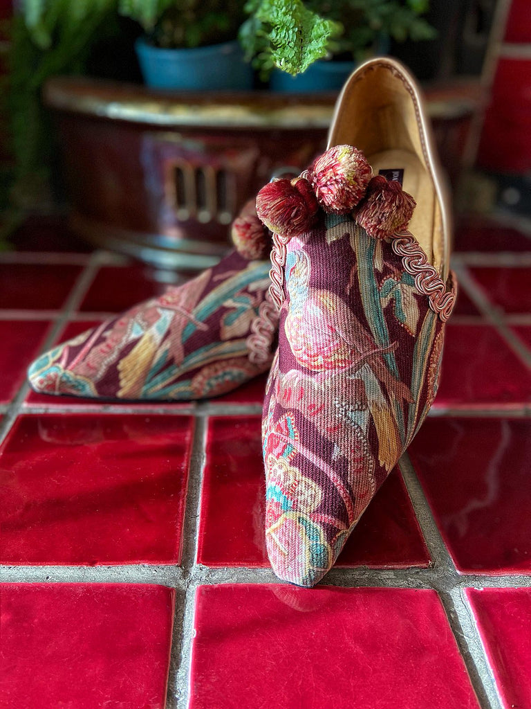 Audubon aubergine and teal shoes with pompom tassel embellishment, created from antique textiles, from the Signature Collection of bohemian footwear by Pavilion Parade at Joanne Fleming Design