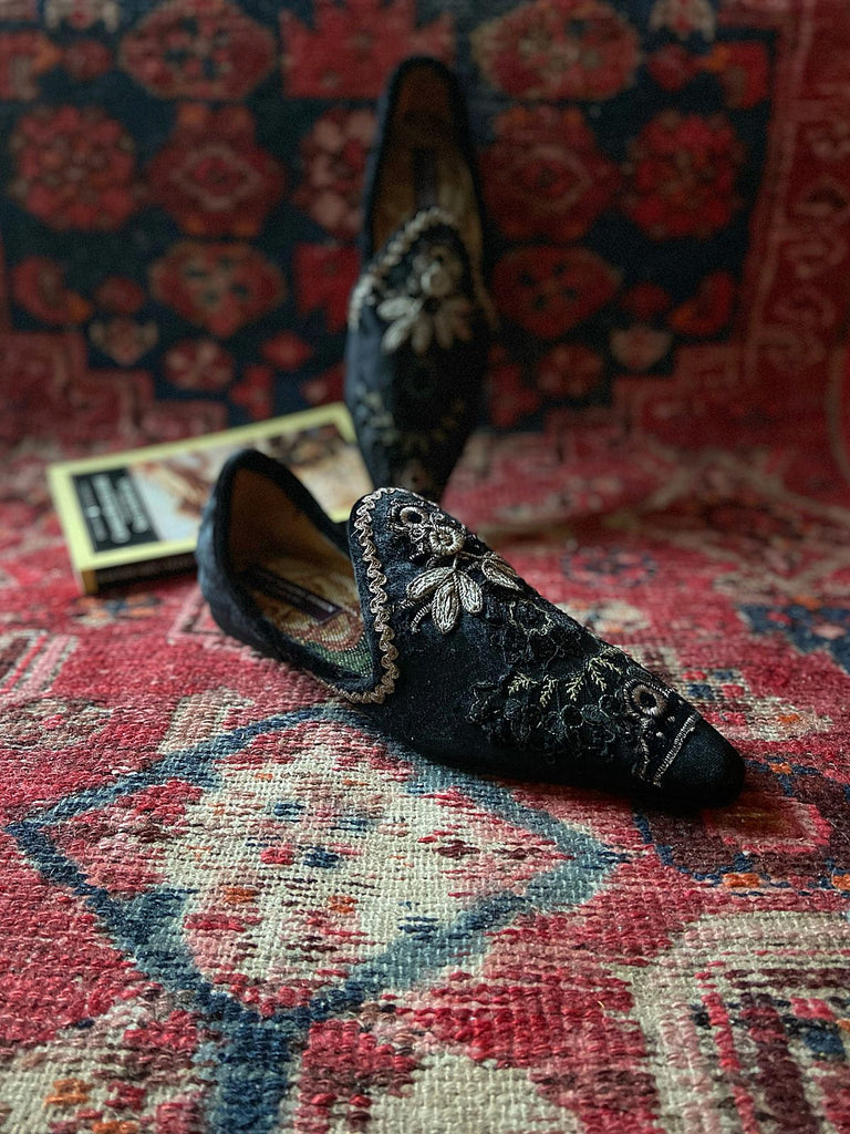 Black silk velvet and antique silver embroidered embellished textile bohemian flat shoes from Pavilion Parade Joanne Fleming Design