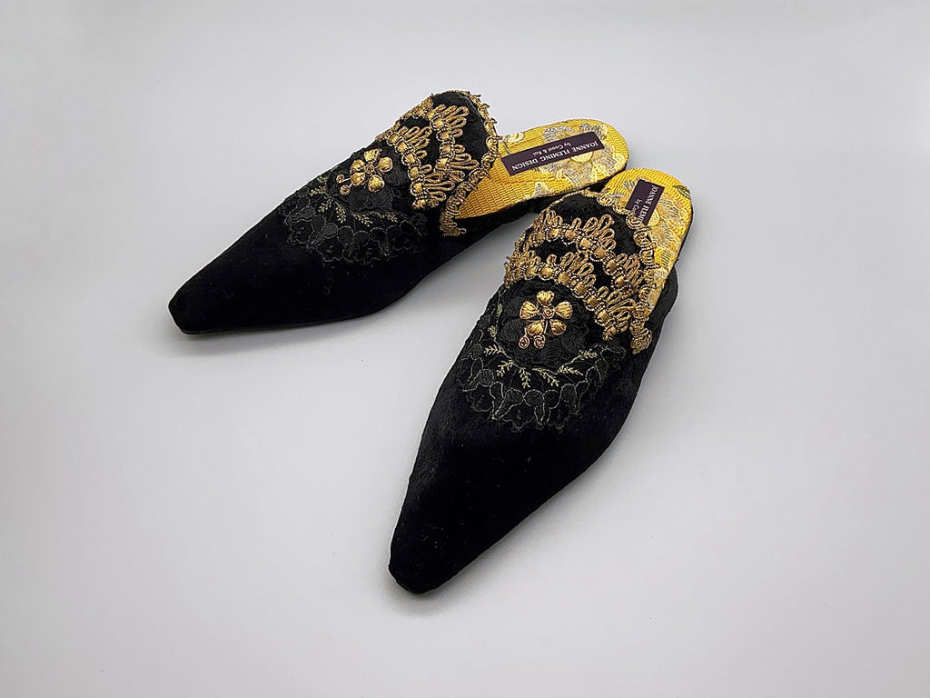 Black silk velvet and antique gold embroidered embellished textile bohemian flat shoes from Pavilion Parade Signature Collection by Joanne Fleming Design