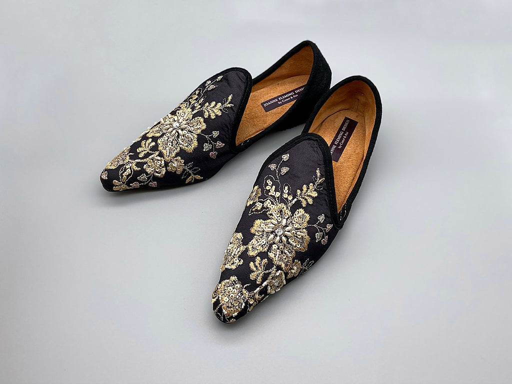 Limited edition beaded embroidered flat babouche style evening shoes in black and gold. Pavilion Parade Recherché Collection from Joanne Fleming Design