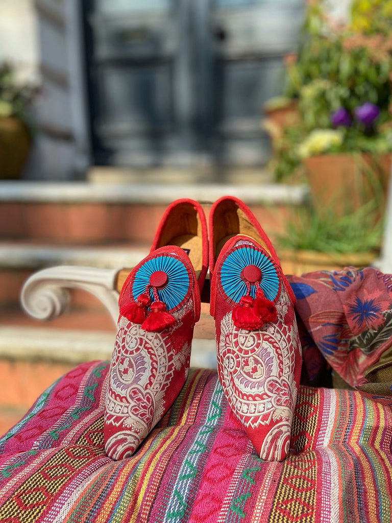 Byron red and turquoise shoes with tassel embellishment, created from antique textiles, from the Sigtnature Collection of bohemian footwear by Pavilion Parade at Joanne Fleming Design