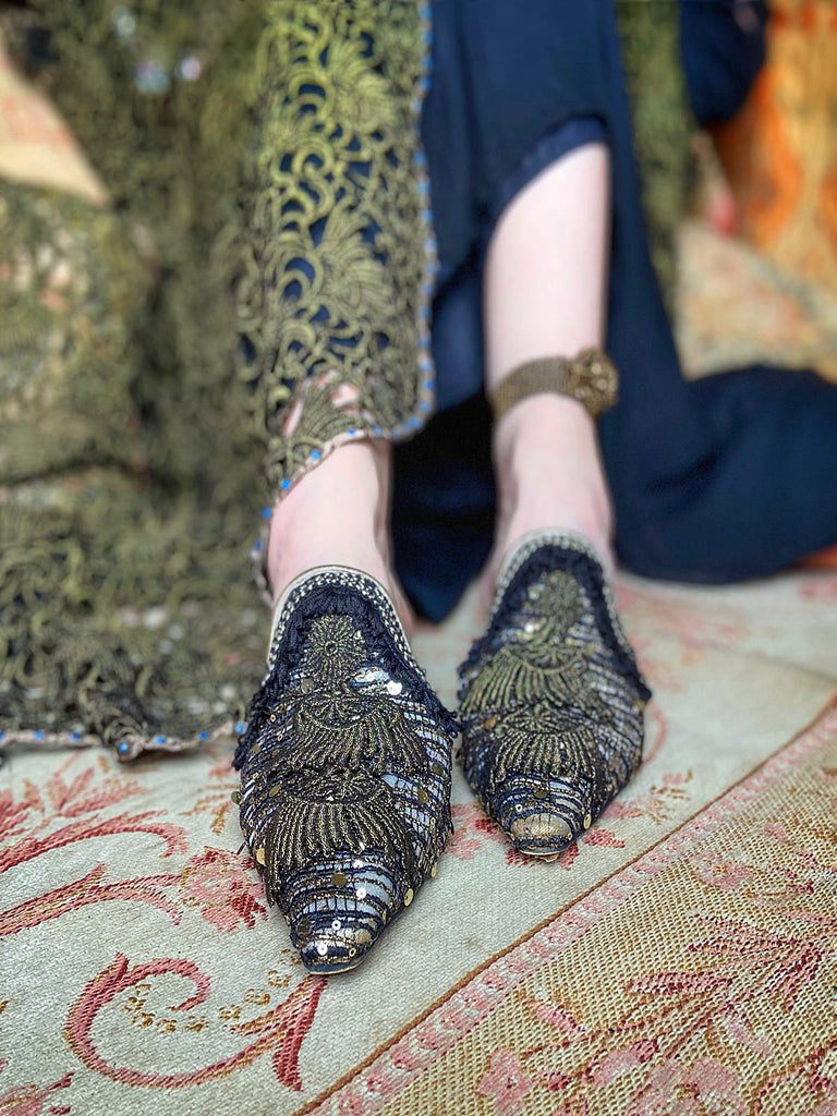 Limited edition sequined flat babouche style evening shoes in black and gold. Pavilion Parade Recherché Collection from Joanne Fleming Design