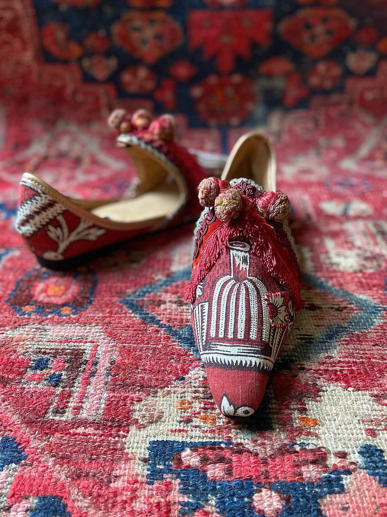 Troubadour red madder antique textile bohemian flat shoes. Pavilion Parade signature collection from Joanne Fleming Design