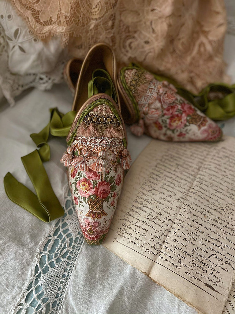 Tasseled flat shoes in antique textiles with silk ankle ties - tones of pink and green - Pavilion Parade from Joanne Fleming Design