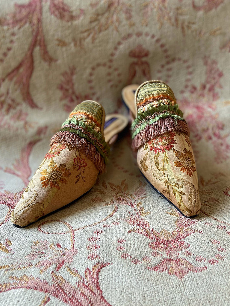 Endymion blush rose gold silk brocade shoes with beaded tassel embellishment, created from antique textiles, from the Sigtnature Collection of bohemian footwear by Pavilion Parade at Joanne Fleming Design