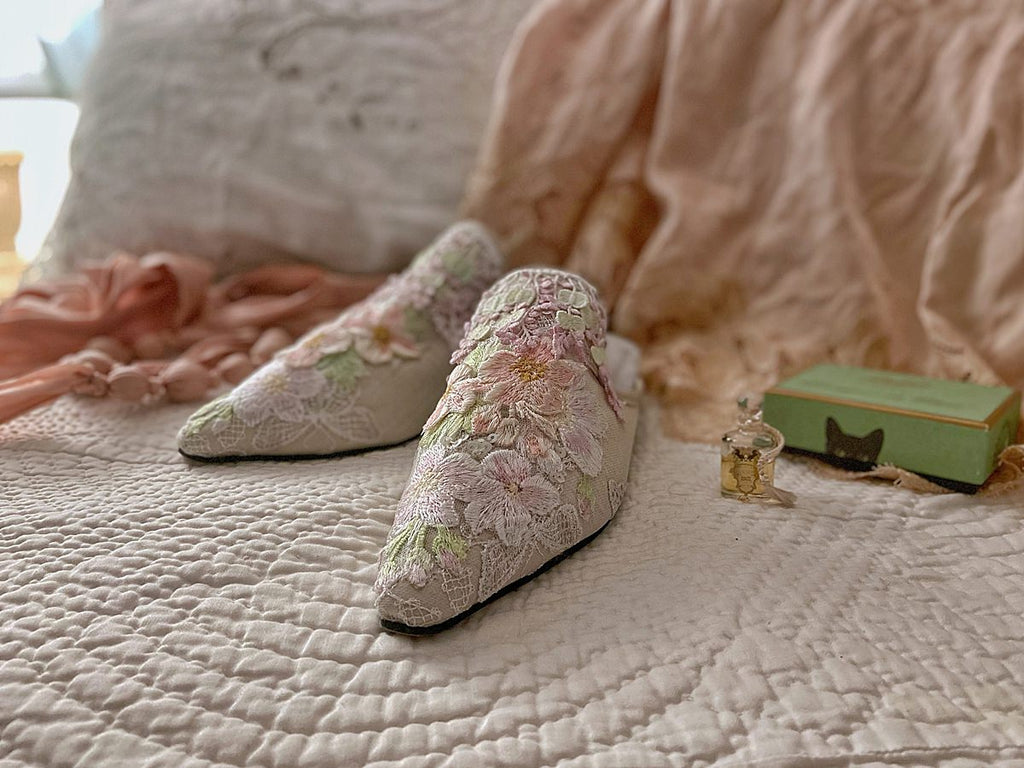 Hand coloured floral limited edition couture shoes from the Pavilion Parade Recherché Collection by Joanne Fleming Design | pastel shades of ivory, pale pink and soft green