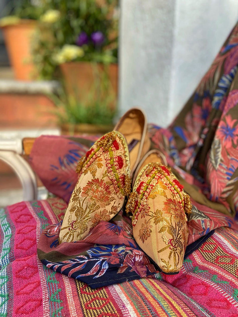 Keats blush rose gold silk brocade shoes with beaded tassel embellishment, created from antique textiles, from the Sigtnature Collection of bohemian footwear by Pavilion Parade at Joanne Fleming Design