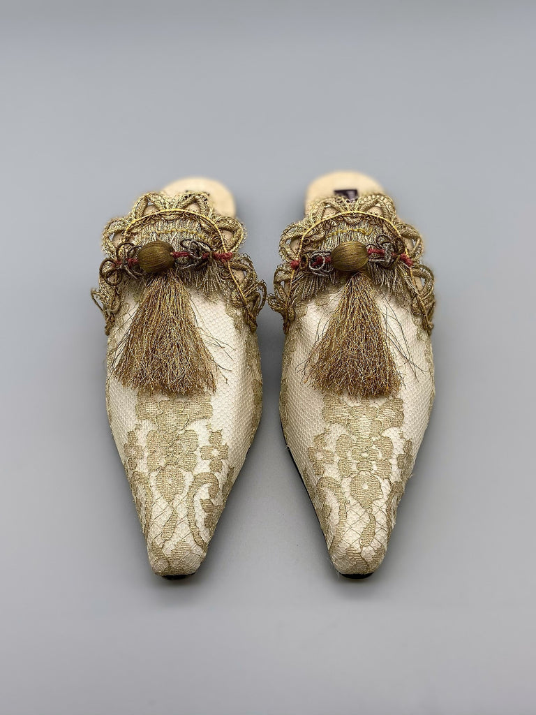 Nijinsky gold lace and antique metal passementerie ballet inspired shoes by Pavilion Parade