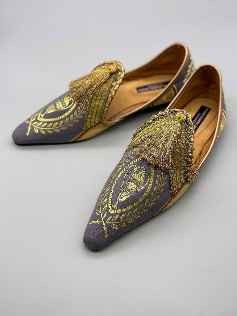 Ozymandias purple and gold silk shoes tasselled embellishment, created from antique textiles, from the Signature Collection of bohemian footwear by Pavilion Parade at Joanne Fleming Design