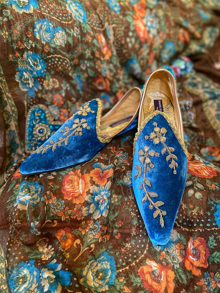 Blue silk velvet and antique gold embroidered embellished Pre Raphaelite bohemian flat shoes from Pavilion Parade Joanne Fleming Design