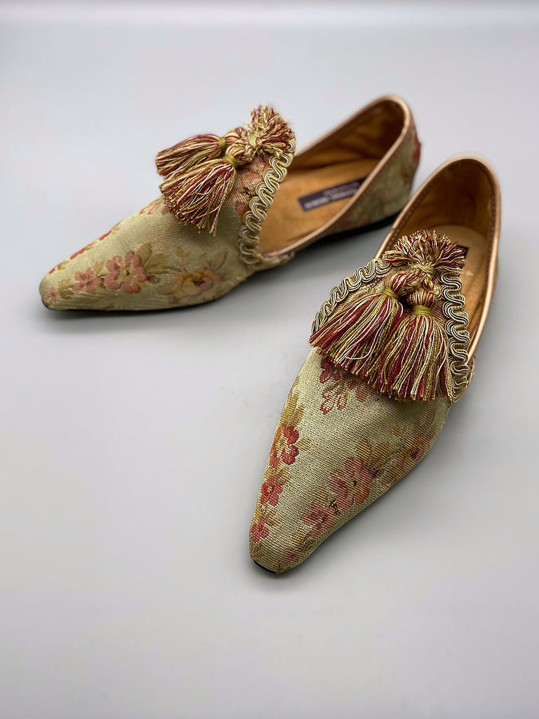 Keats olive green silk brocade shoes with tassel embellishment, created from antique textiles, from the Sigtnature Collection of bohemian footwear by Pavilion Parade at Joanne Fleming Design