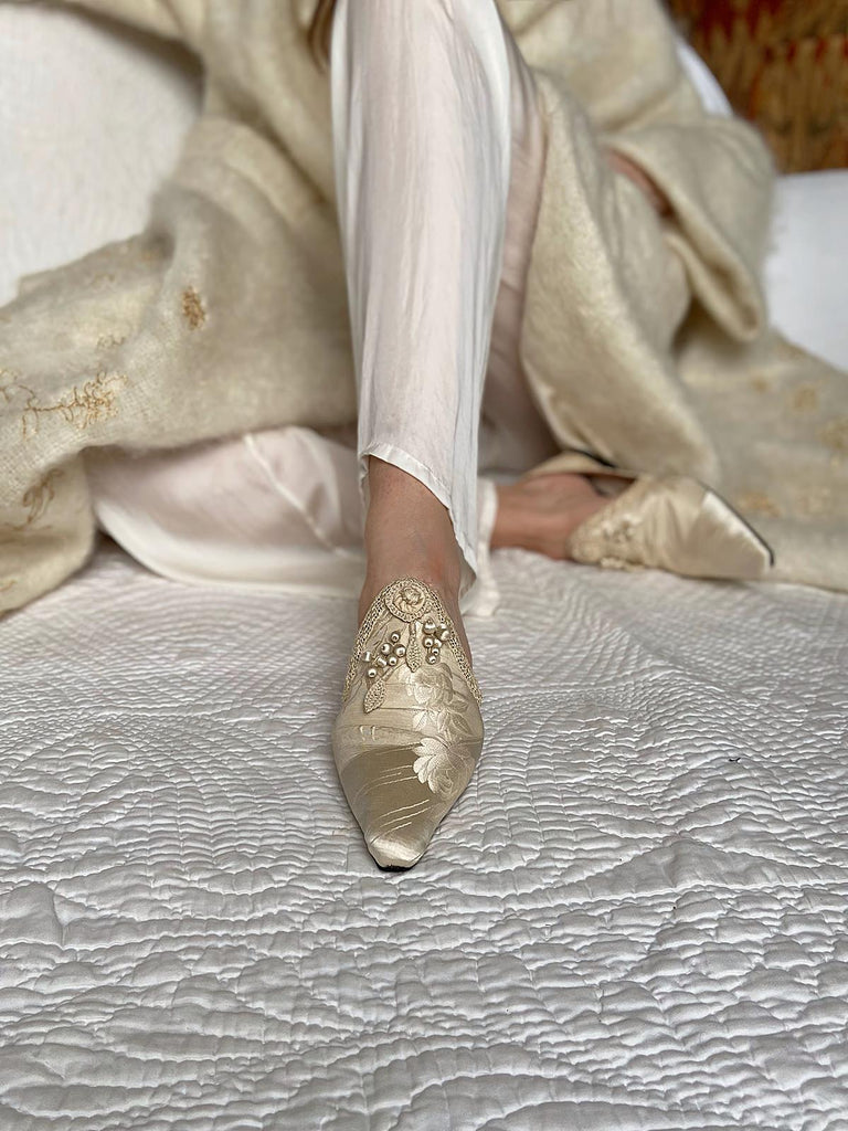 Antique ivory silk damask bridal shoes from the Pavilion Parade Signature Collection by Joanne Fleming Design