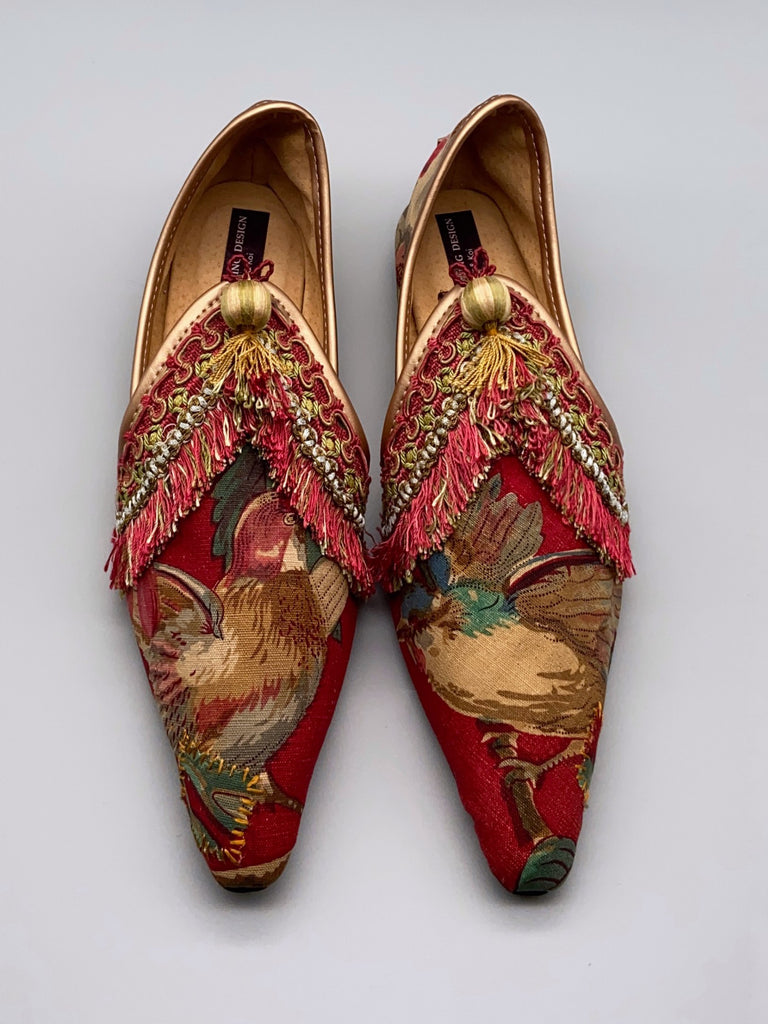 Bohemian shoes created from antique French printed cotton, embellished with antique silk passementerie fringe - tones of turkey red, blue and gold - Pavilion Parade Signature Collection from Joanne Fleming Design