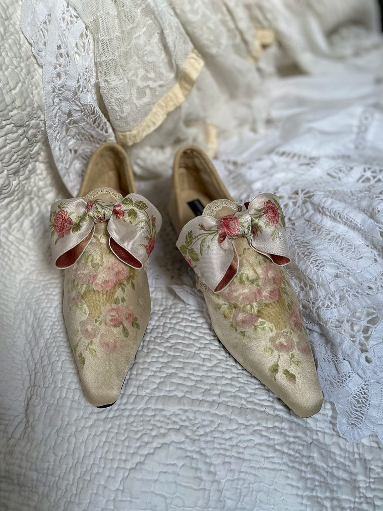 Wordsworth ivory silk bridal shoes bow embellishment, created from antique textiles, from the Signature Collection of bohemian footwear by Pavilion Parade at Joanne Fleming Design