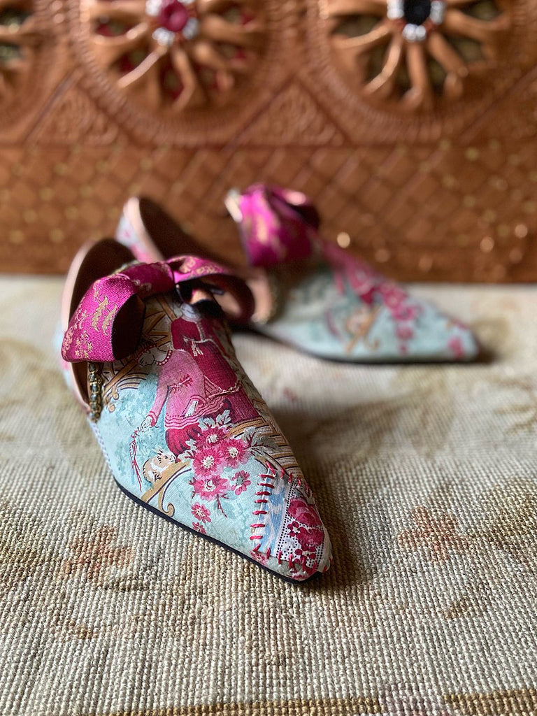 Antique French textile Chinoiserie block printed bohemian shoes with silk bows from the Pavilion Parade Signature Collection by Joanne Fleming Design