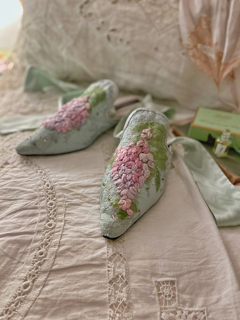 Limited edition silk ribbon embroidered romantic  flat shoes from the Recherché Collection by Joanne Fleming Design | wisteria motif in shades of pale aqua, lavender and green