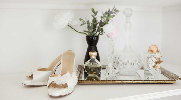 Angela Nuran silk wedding shoes with vanity tray and vase