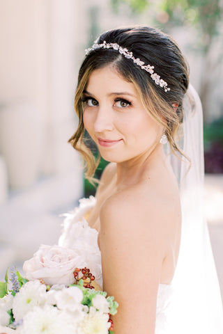 Southern Bride Magazine cover winter/spring 2021. Laura Jayne accessories earrings and crown. Bridal trends. Wedding crown and bridal veil wedding inspiration.