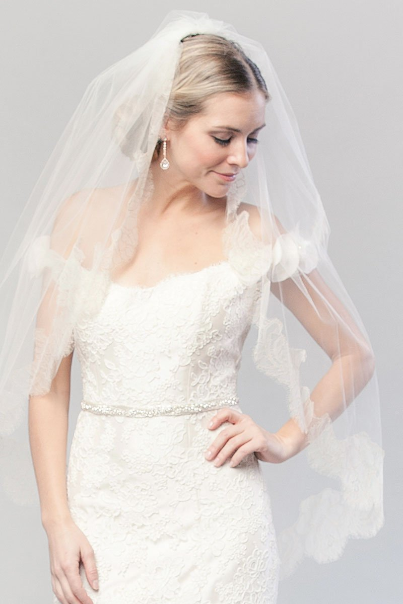Coco Chantilly Blusher Veil worn back by bride