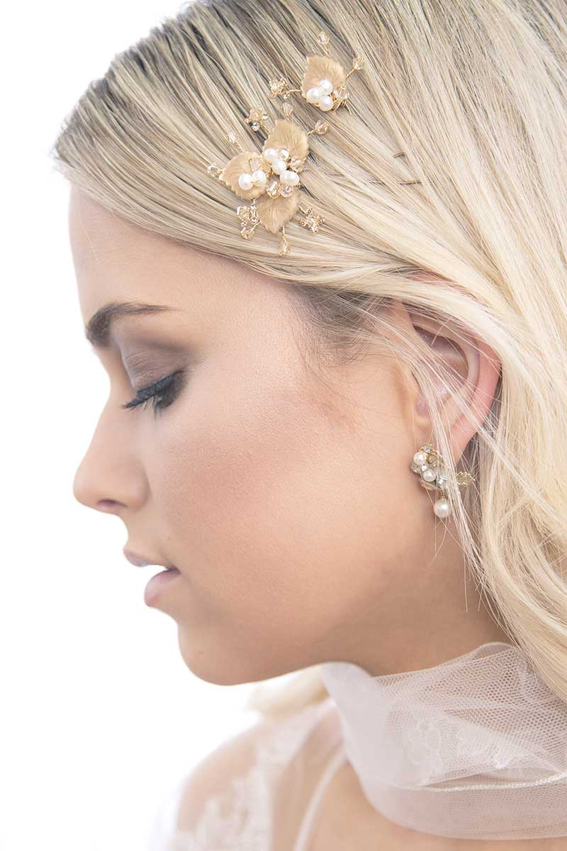 Profile of woman wearing Gilt Foliage hairpin set by Laura Jayne Accessories