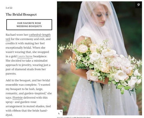 Martha Stewart Wedding celebrity real wedding winter/spring 2021. Laura Jayne accessories earrings and crown. Bridal trends. French castle wedding with custom bridal headpiece.
