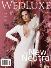 WedLux Magazine cover winter/spring 2021. Laura Jayne accessories earrings and crown. Bridal trends. Worn with modern chic minimalist wedding gown, cover girl.
