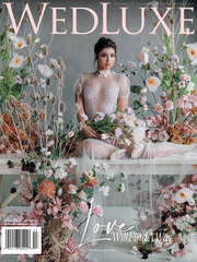 WedLux Magazine cover winter/spring 2021. Laura Jayne accessories earrings and crown. Bridal trends.