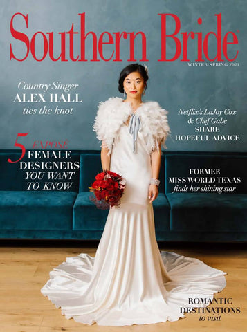 Southern Bride Magazine cover winter/spring 2021. Laura Jayne accessories earrings and crown. Bridal trends.