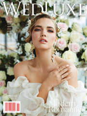 WedLux Magazine cover winter/spring 2021. Laura Jayne accessories earrings and crown. Bridal trends and wedding inspiration.