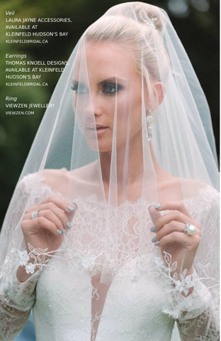 WedLux Magazine cover winter/spring 2021. Laura Jayne accessories earrings and crown. Bridal trends. Must have bridal veil with Taccori ring.