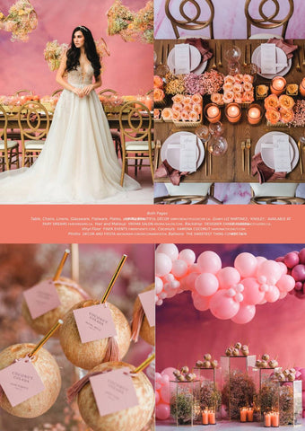 WedLux Magazine cover winter/spring 2021. Laura Jayne accessories earrings and crown. Bridal trends. Bridal macaroons, Wedding table setting.