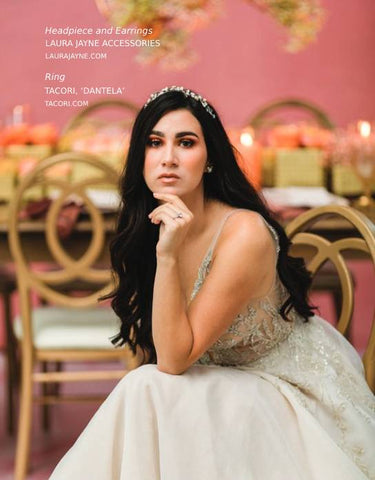 WedLux Magazine cover winter/spring 2021. Laura Jayne accessories earrings and crown. Bridal trends. Worn with Hayley Paige gown.