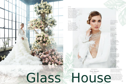 WedLux Magazine cover winter/spring 2021. Laura Jayne accessories earrings and crown. Bridal trends. Styled with Galia Lahav wedding gown by white bridal