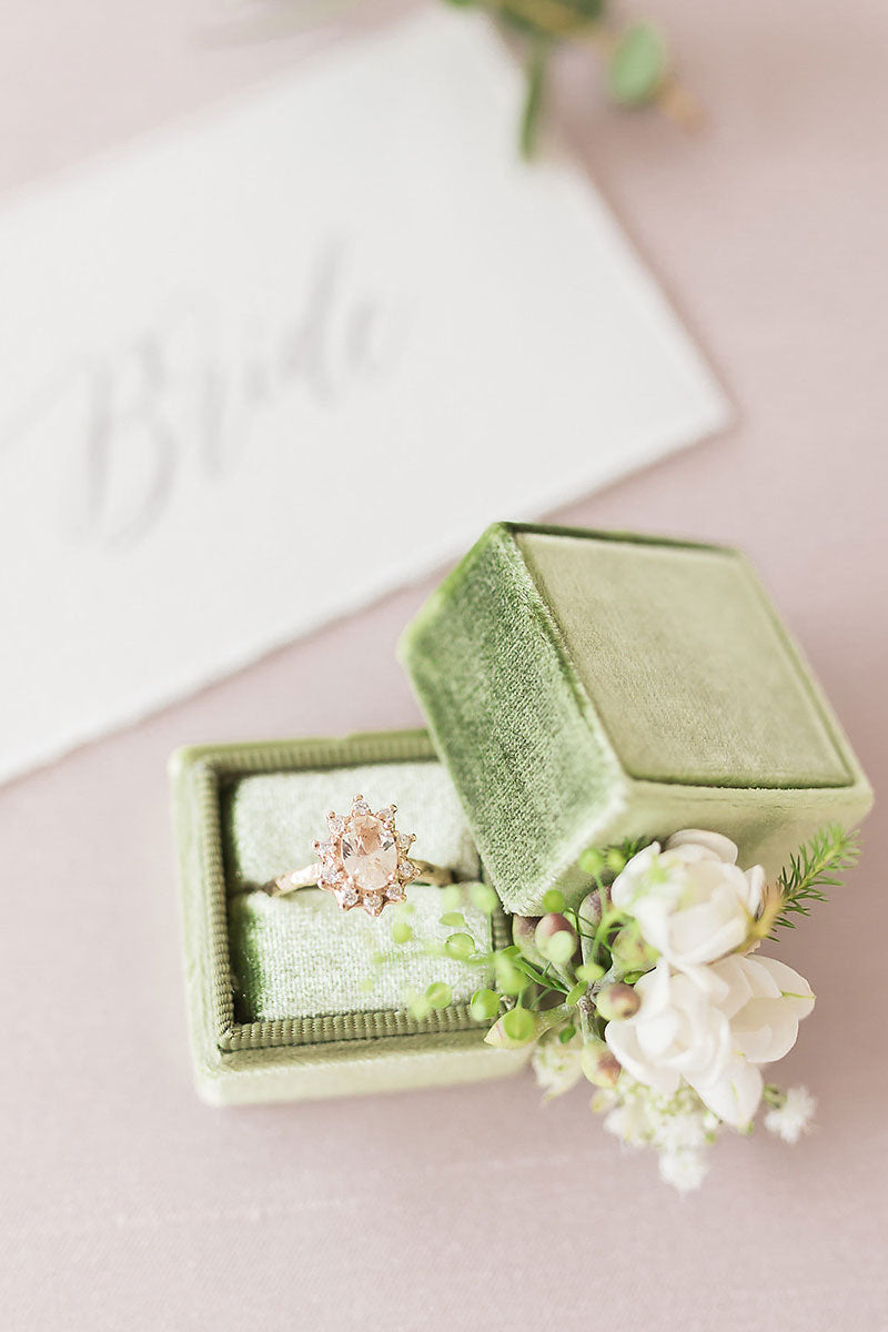 engagement ring in green box