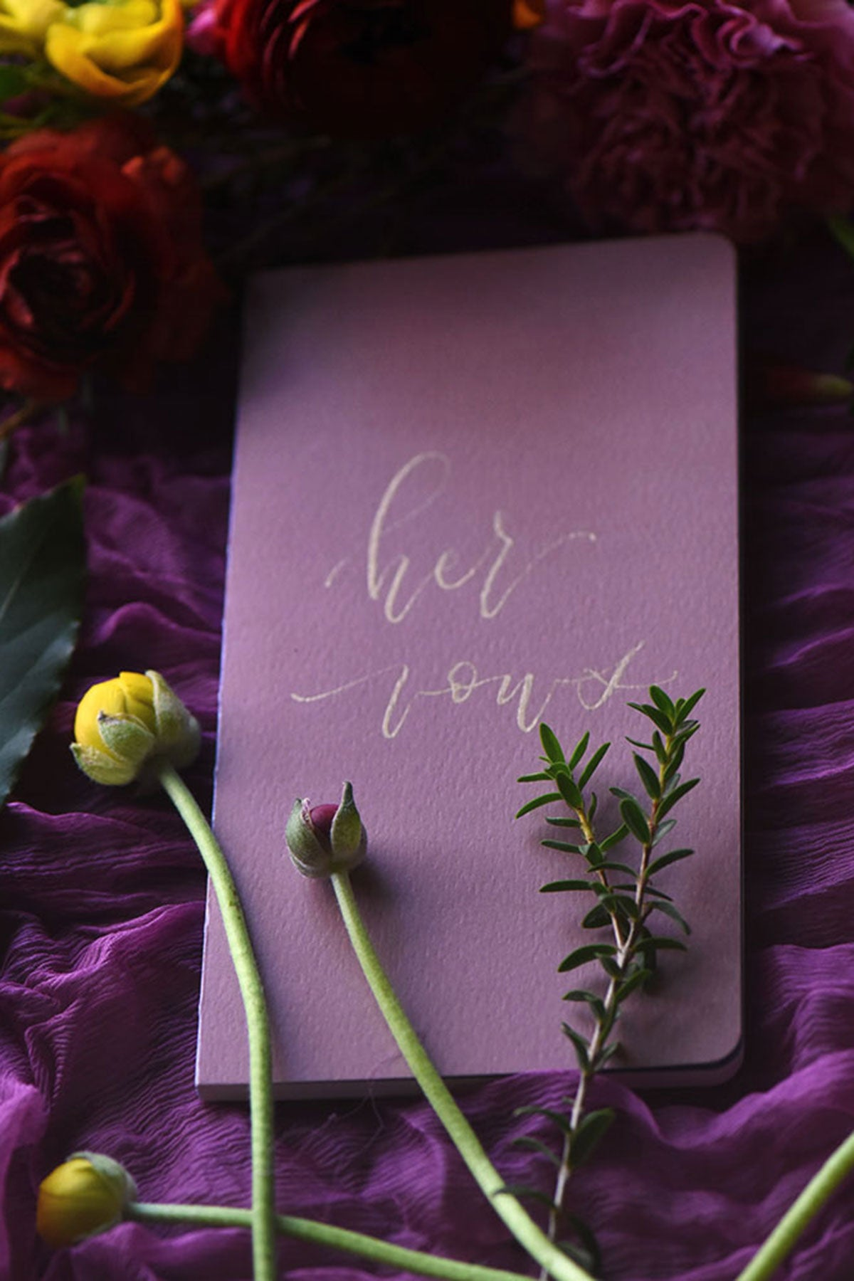 wedding vows book with calligraphy