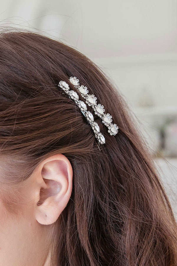 Pear jewel crystal barrettes handmade in Toronto
