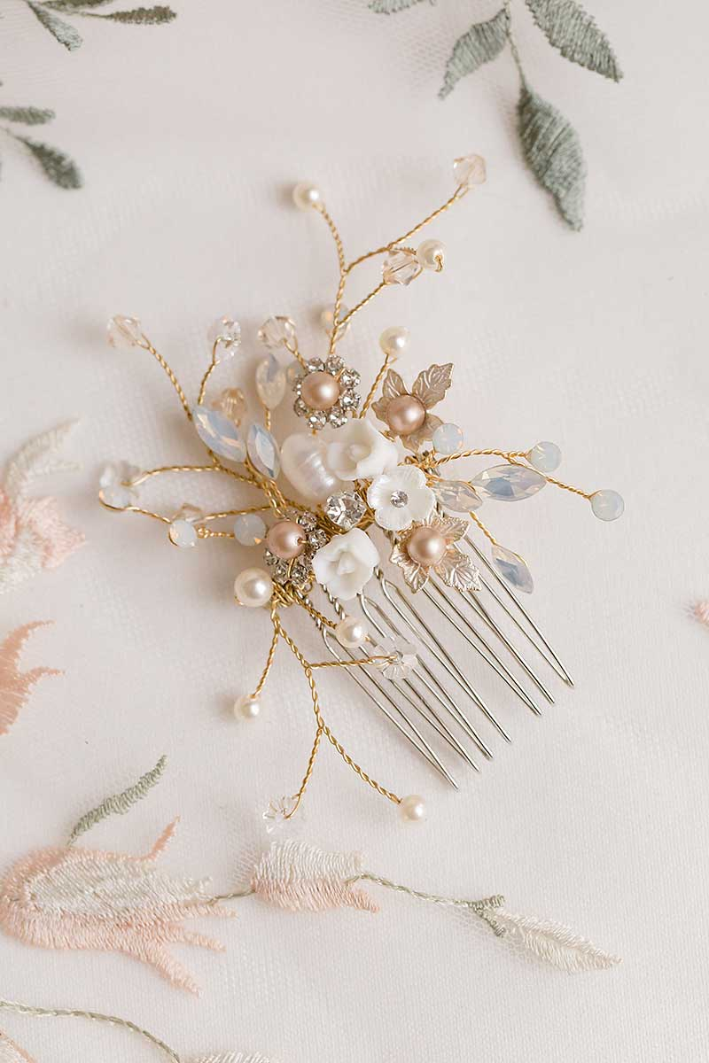 Laura Jayne Louise flower comb on floral background