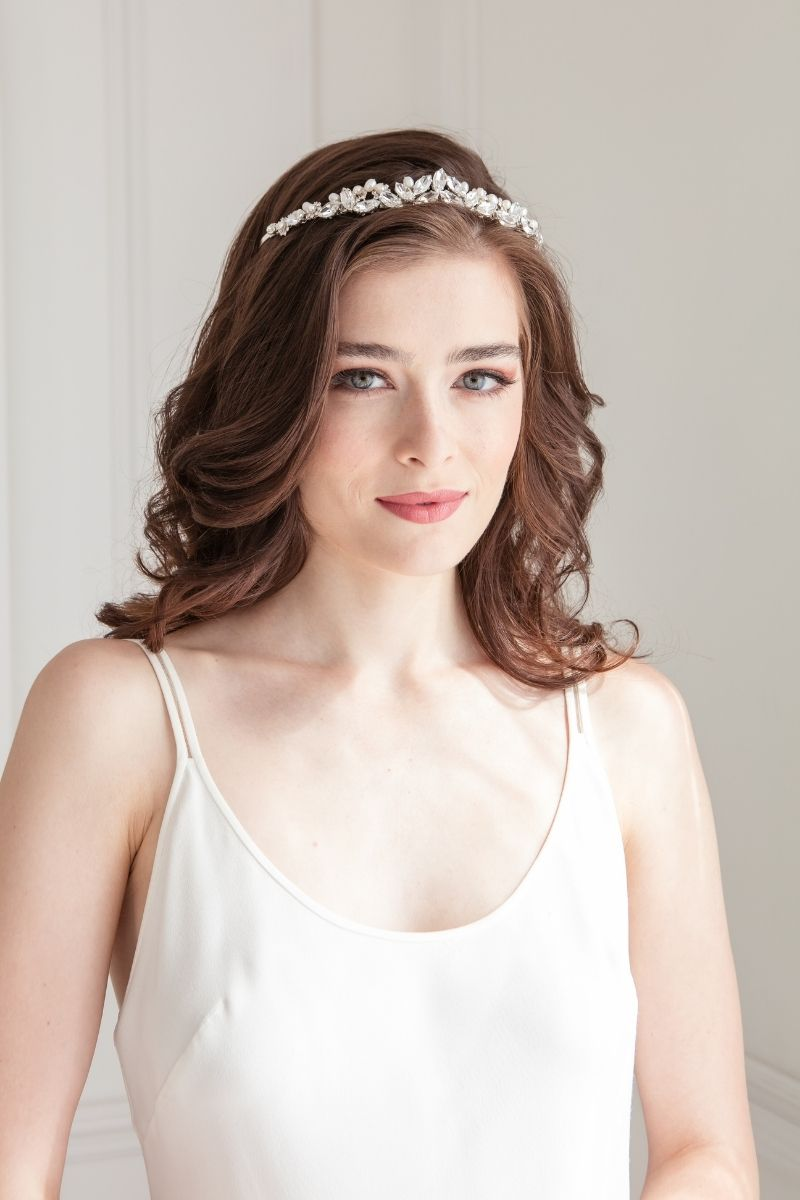 Handmade in Toronto crystal and pearl crown headpiece.