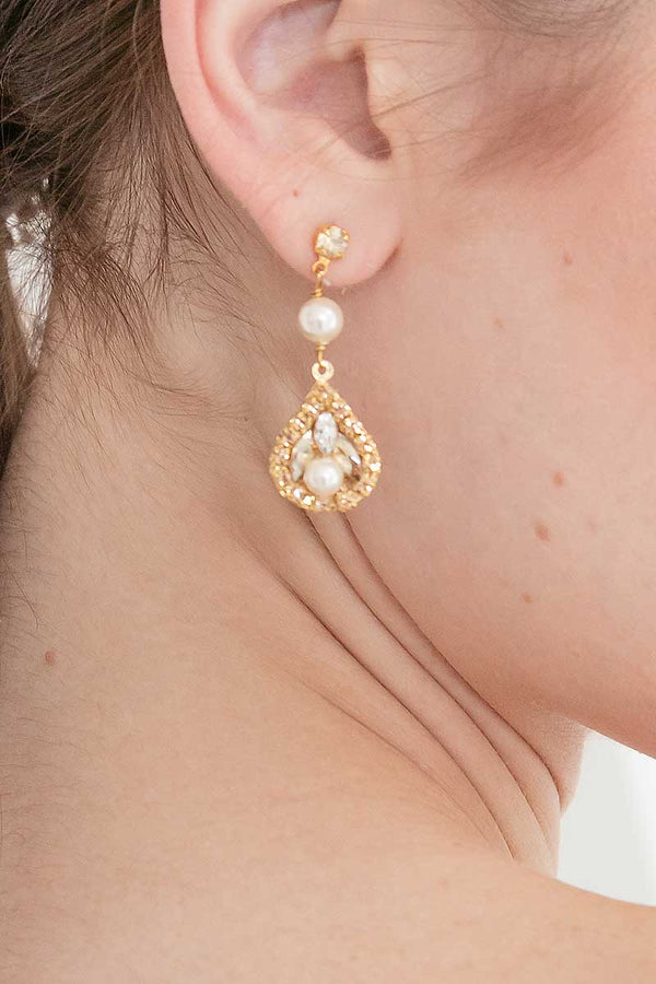 Gold Champagne Teardrop Earring with Pearls on woman's profile