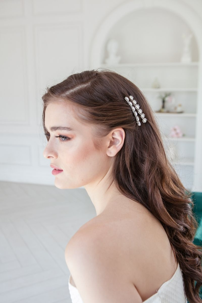 Crystal bridal barrettes Toronto handmade bridal accessories.