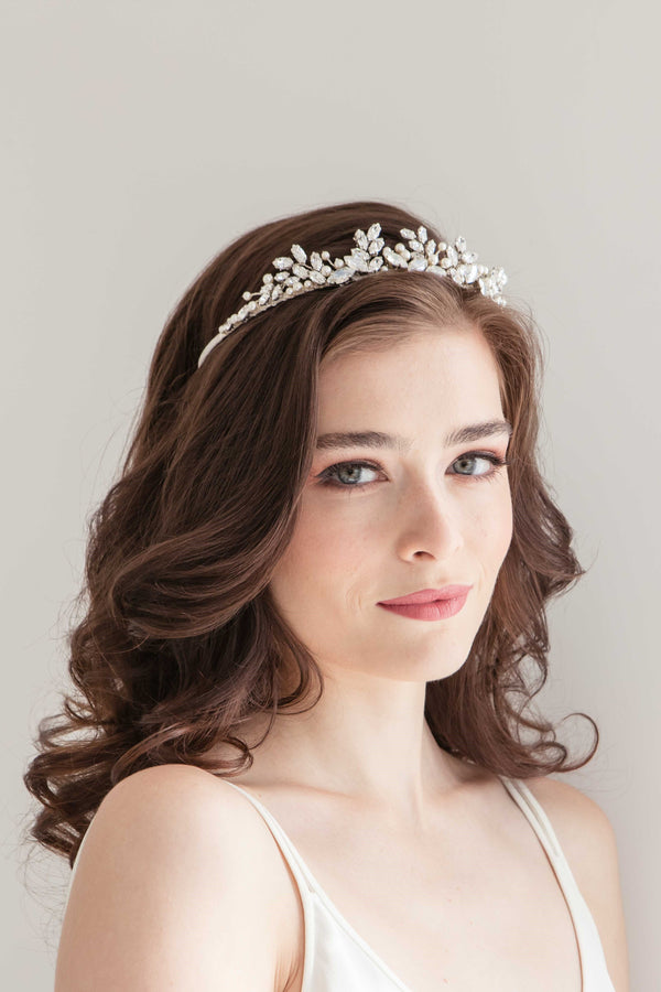 Pearl and crystal crown bridal accessory. Handmade in Canada organza tiara.